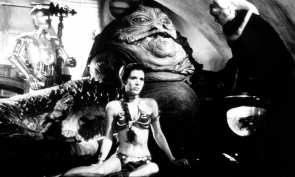 DEN GANG DA: Fisher spilte i flere «Star Wars»-filmer. Her er hun fanget og i bikini. Stjerna er nå involvert i et heroin-relatert søksmål. Foto: Lucasfilm