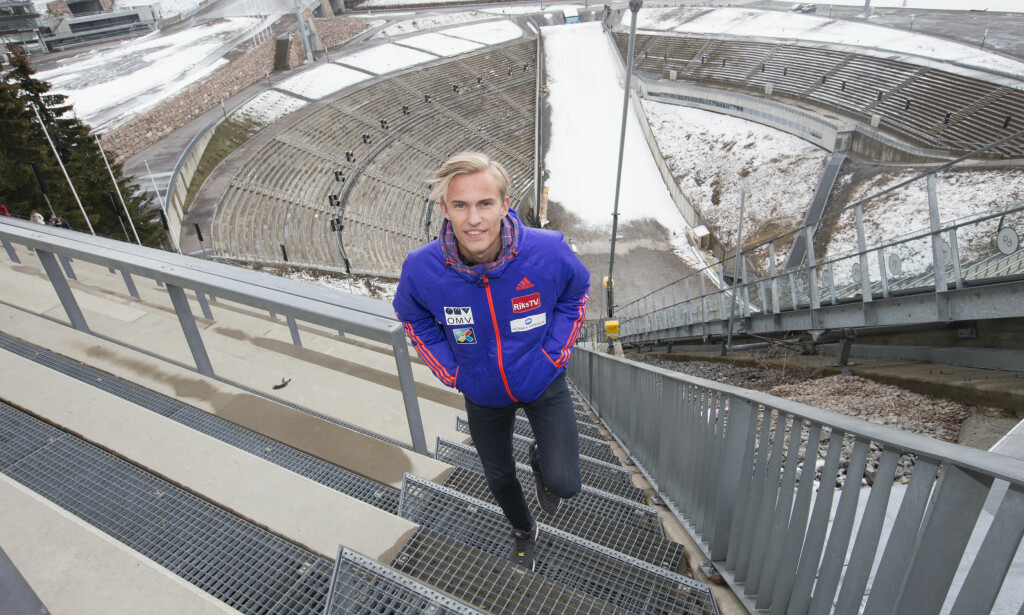 NORSK MESTER: Daniel André Tande, her fra Holmenkollen tidligere i år. Foto: Terje Bendiksby / NTB scanpix