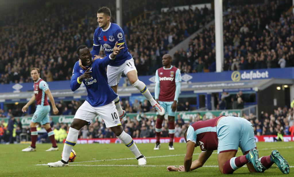 NYTT MÅLSHOW: Romelu Lukaku har det med å score mot West Ham. Søndag gjorde han det igjen da Everton vant 2-0. Foto: Reuters / Carl Recine / NTB Scanpix