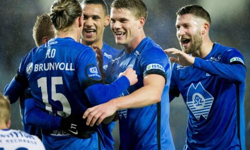 HERJET: Molde feirer ett av tre mål mot Stabæk. Foto: NTB Scanpix