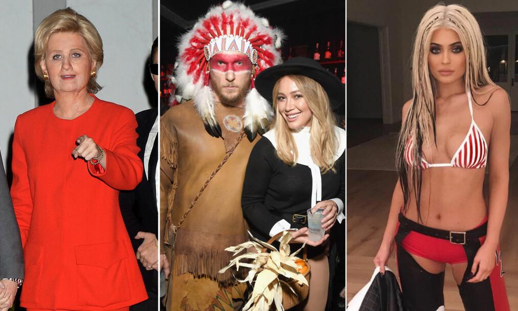 KREATIVT: Mens Katy Perry (t.v) og Kylie Jenner (t.h) fikk skryt for sine kostymer, raste fansen over Hilary Duff og kjærestens antrekk. Foto: NTB scanpix / Instagram