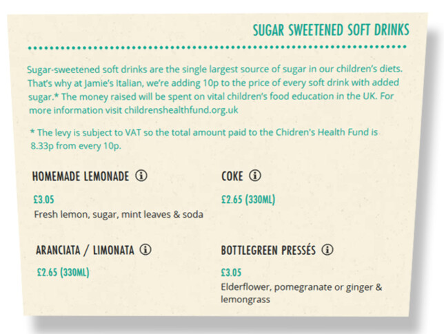 SUKKERKAMPEN: Jamie Oliver har lagt 10 p (cirka en krone) på prisen på all sukkerholdig drikke på Jamie's Italian-restaurantene i Storbritannia. Til sammenligning koster mineralvann 2 pund for 330 ml, fruktjuice 2,95 pund og lettbrus 2,55 pund. Faksimile: Jamieoliver.com