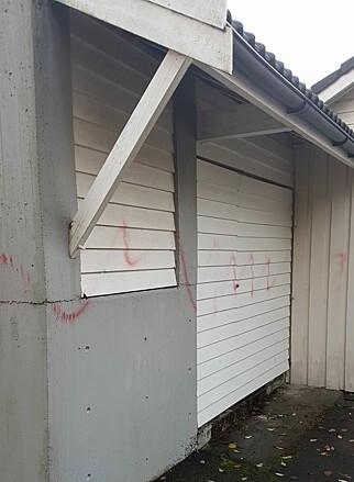 HERPET: Selv om det var dårlig vær i Bergen i går, har spraymalingen festet seg godt enkelte steder. Foto: Privat.