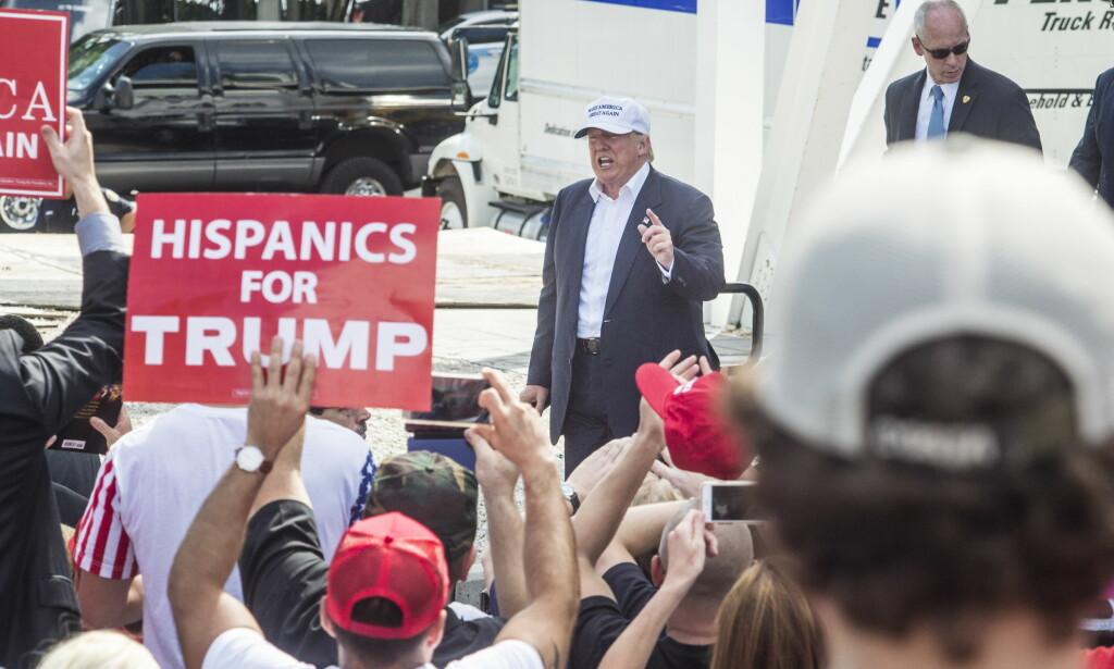 SAMLET STEMMER: Det var en selvsikker Donald Trump som forlot Miami. Foto: Øistein Norum Monsen / Dagbladet