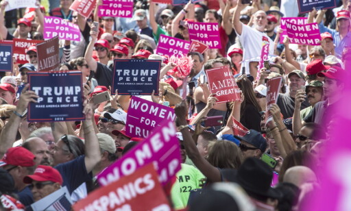 LIVLIG: Donald Trump klager alltid på at media ikke viser hvor engasjerte tilhengerne hans er. Foto: Øistein Norum Monsen / Dagbladet