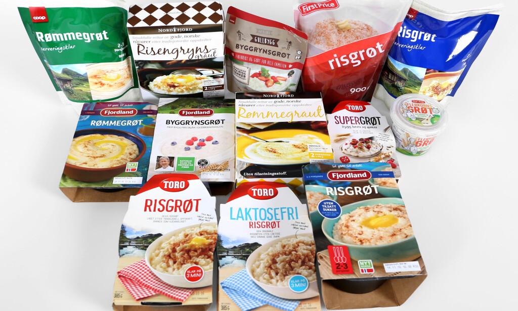 TEST: Det har kommet mange nye og sunnere grøtvarianter på markedet. Foto: Erik Helgeneset / Bramat.no