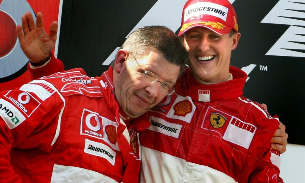 VENNER: Michael Schumacher og Ross Brawn i Ferrari fra 2006. Foto:  REUTERS/Christian Charisius