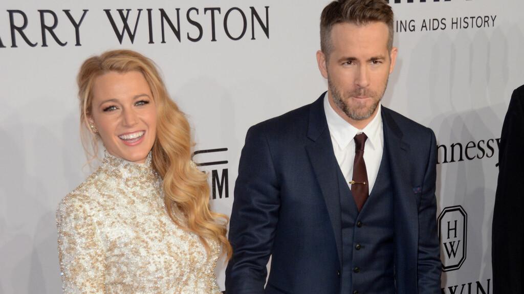 LØSMUNNET: Da Ryan Reynolds gjestet TV-showet til Conan O'Brien onsdag, røpet han tilsynelatende mer enn planlagt om sitt nye barn med kona Blake Lively. Her er stjerneparet avbildet sammen på amfAR-gallaen i New York i februar. Foto: wenn.com