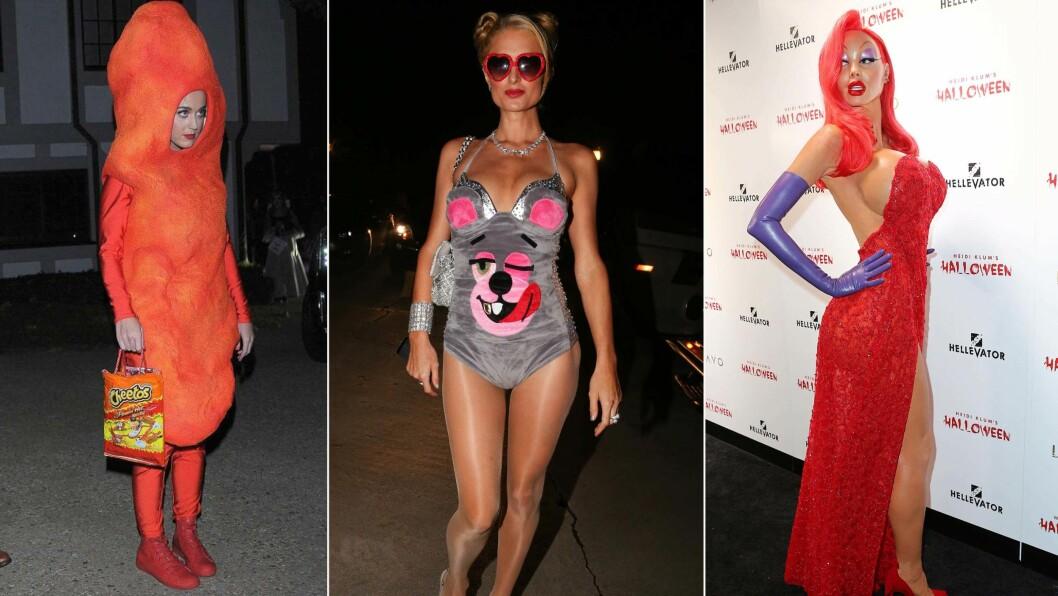 HUMOR: Katy Perry utkledd som en ostepop, Paris Hilton som Miley Cyrus og Heidi Klum som tegneseriefiguren Jessica Rabbit. Kjendisene elsker Halloween.