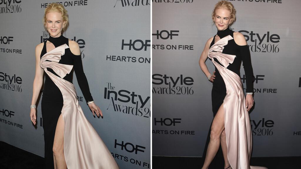 TOK PUSTEN FRA ALLE: Skuespiller Nicole Kidman sa til People på den rød løperen at hun får motetips fra barna sine. 49-åringen tok seg uansett flott ut da hun hanket inn «Style Icon»-prisen på InStyle Awards 2016 mandag. Foto: Rex Features/ SipaUSA/ NTB Scanpix