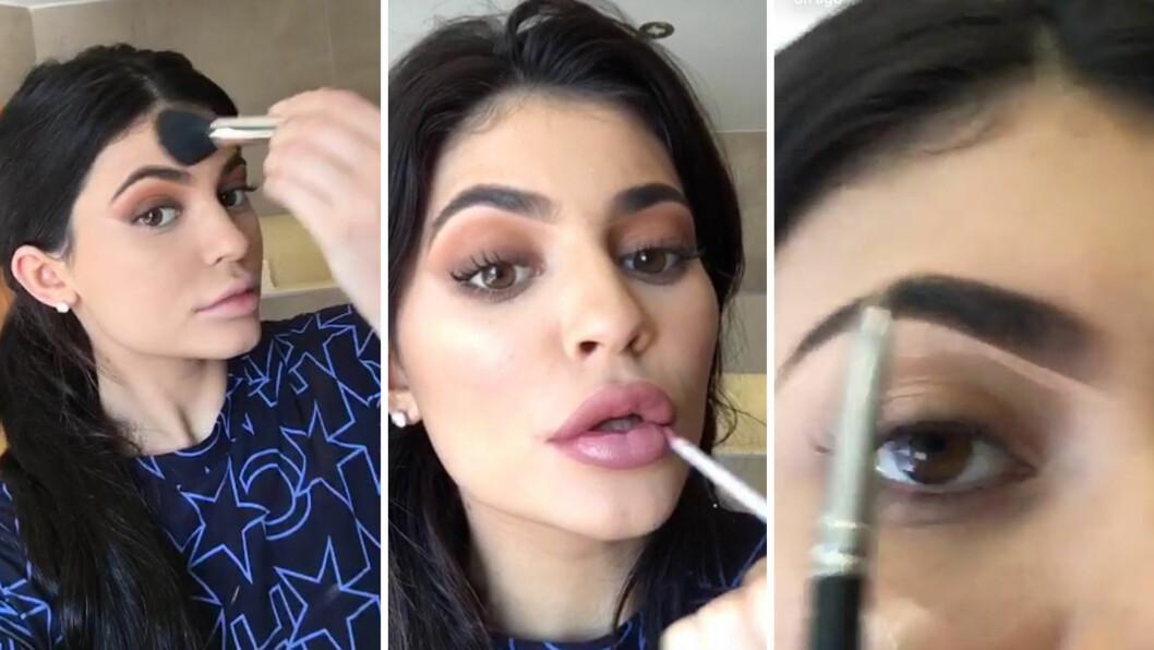 <strong>PLETTFRI SMINKE:</strong> Kylie Jenner har tilgang på eksperthjelp til å fikse både antrekk, sminke og styling. Denne uken viste hun imidlertid at hun selv er en ekstremt dreven sminkør - som lett kan sminke seg gjennom over 20 trinn for et perfekt resultat.  Foto: Scanpix