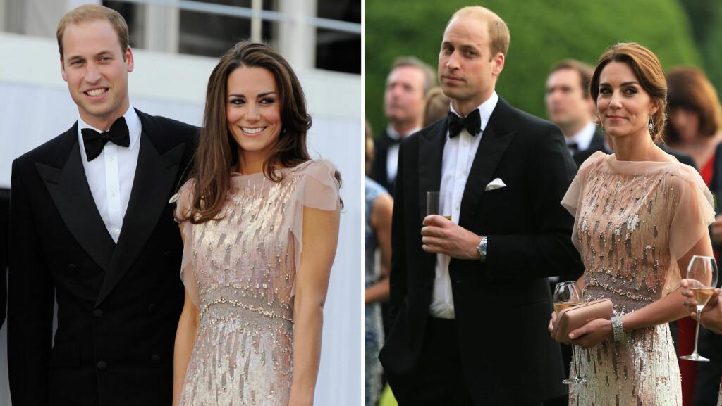 DÉJÀ VU: Da prins William og hertuginne Kate gjestet en veldedighetsgalla onsdag 22. juni (t.h), var Kate iført akkurat samme kjole som hun brukte på en annen veldedighetsgalla 9. juni 2011.  Foto: NTB Scanpix