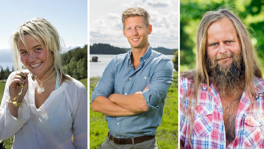 MINNEVERDIGE DELTAKERE: Siden første sesong av «Farmen» i 2001 har en lang rekke morsomme og provoserende deltakere sjekket inn på reality-gården. Som oppladning til premieren mandag har Seoghør.no spurt ut programleder Gaute Grøtta Grav (midten) om et knippe av de tidligere «Farmen»-profilene.  Foto: NTB Scanpix/ TV 2/ Se og Hør