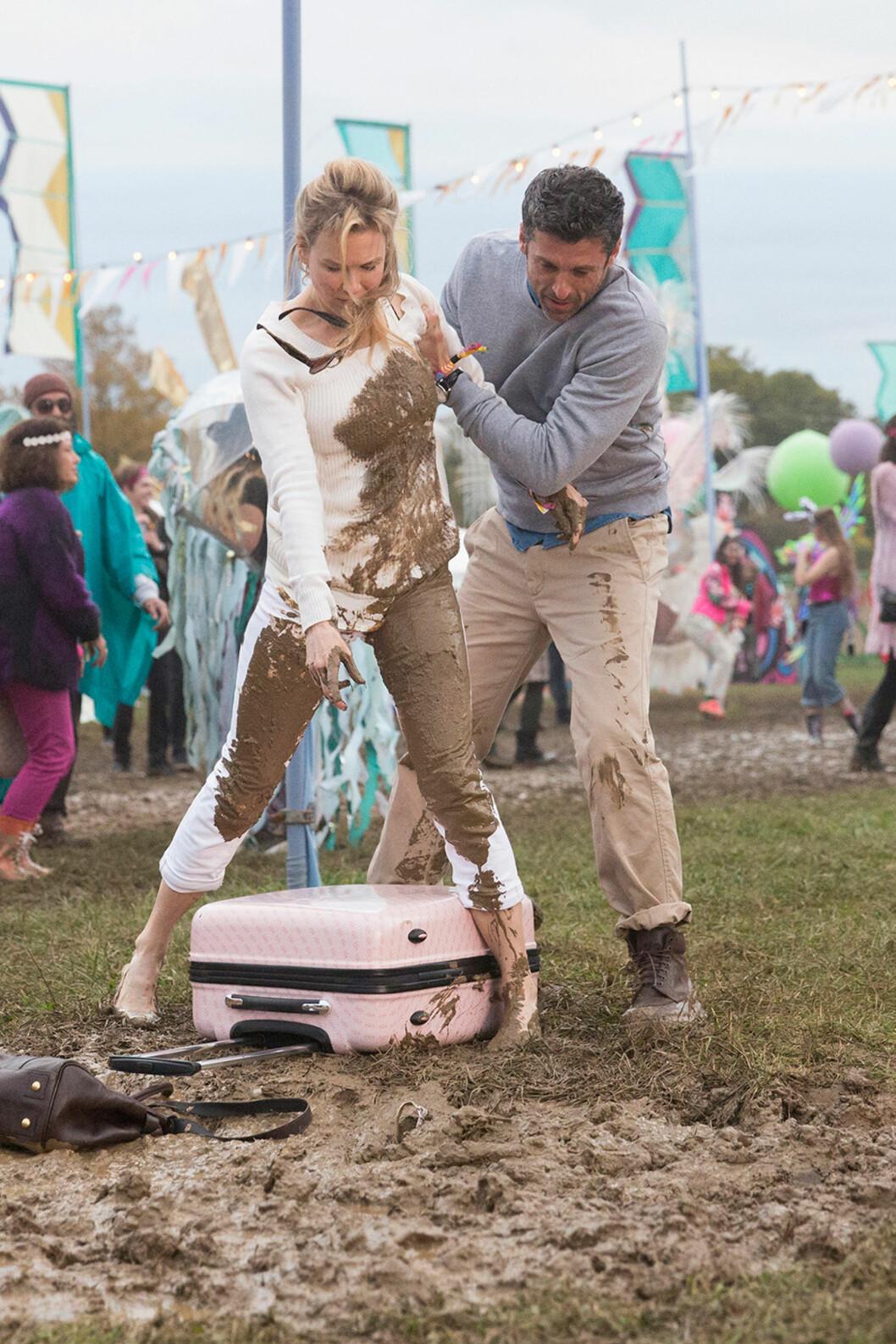 KJENT ROLLE: Zellweger ble for alvor kjent i filmen «Bridget Jones Dagbok» i 2001. Tre år etter kom oppfølgeren. Her med Patrick Dempsey i film nummer tre «Bridget Jones Baby» som er kinoaktuell.