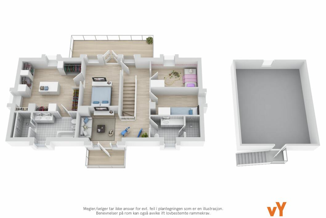 2. ETASJE: LITT AV ET KLESSKAP: Annen etasje i Villa Solum blir en drøm for moteinteresserte Tone. Fra soverommet kan hun spasere rett inn i sitt enorme walk-in-closet på over 20 kvadratmeter - og derfra rett inn til sitt nye spa-bad. Foto: VY COMMUNICATIONS