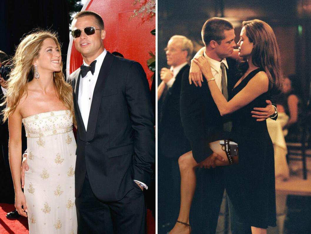 BRUTALT BRUDD: I september 2004 (t.v) var Jennifer Aniston og Brad Pitt tilsynelatende fortsatt et av Hollywoods lykkeligste par. I januar 2005 søkte hun om skilsmisse. Ikke lenge etter ble det kjent at Pitt hadde falt for Angelina Jolie under innspillingen av «Mr. & Mrs. Smith» (t.h). Foto: ABACA/ NTB Scanpix/ Twentieth Century Fox Norway