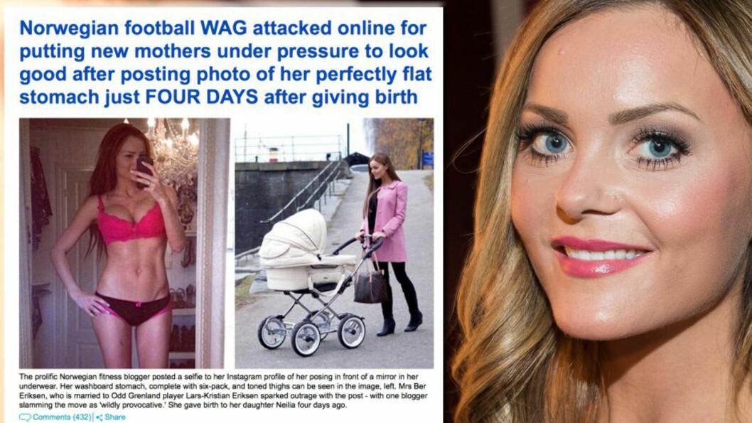 SKAPTE FURORE: Caroline Berg Eriksen fikk mye tyn for å legge ut bilde av sin flate mage kun fire dager etter fødeselen i 2013. I ettertid har hun sagt at hun angrer på at hun publiserte bildet. Hendelsen vekket stor interesse også utenfor Norges landegrenser. Denne faksimilen er hentet fra britiske Daily Mail. Foto: Skjermdump Daily Mail // Stella Pictures