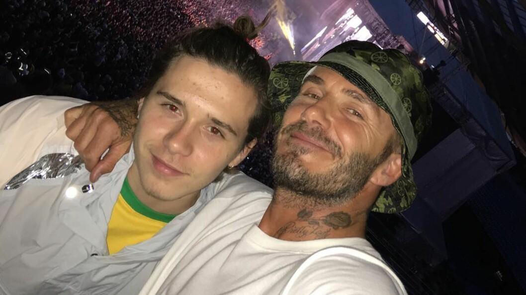 POPULÆR DUO: Brooklyn Beckham og pappa David har et svært nært forhold og deler stadig bilder sammen i sosiale medier.  Foto: SipaUSA