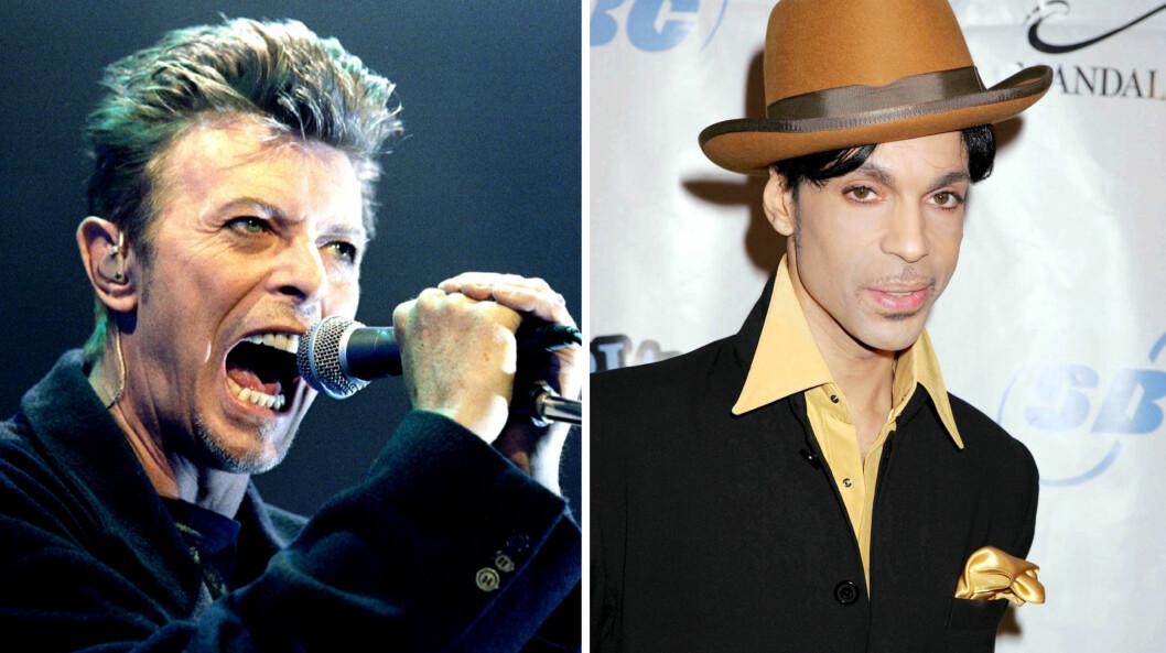 MISTET TO IKONER: David Bowie (t.v) og popikonet Prince begge døde brått og uventet tidligere i år. Foto: NTB scanpix