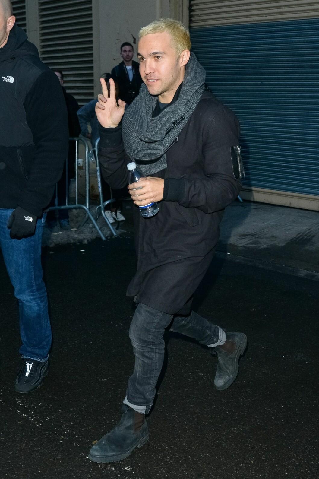 BLANT GJESTENE: Fall Out Boy-bassist Pete Wentz ankommer Kanye West x Adidas-show i New York. Foto: MediaPunch/REX/All Over Press