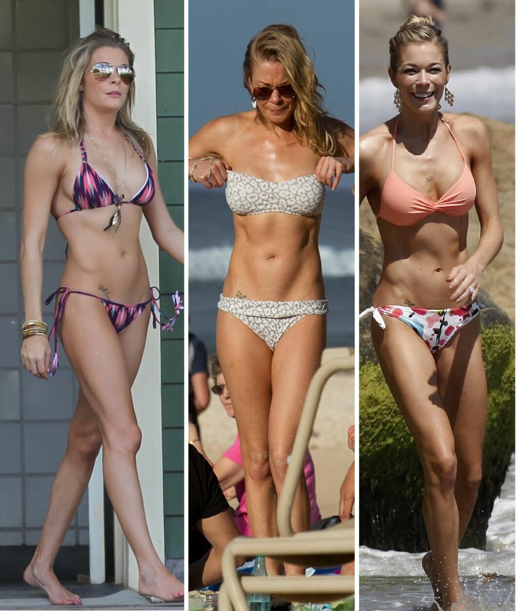 <strong>ENDELIG FORNØYD:</strong> Etter å ha gjemt bort kroppen i årevis på grunn av hudsykdommen elsker LeAnn Rimes å ha på seg bikini. Foto:  Splash News