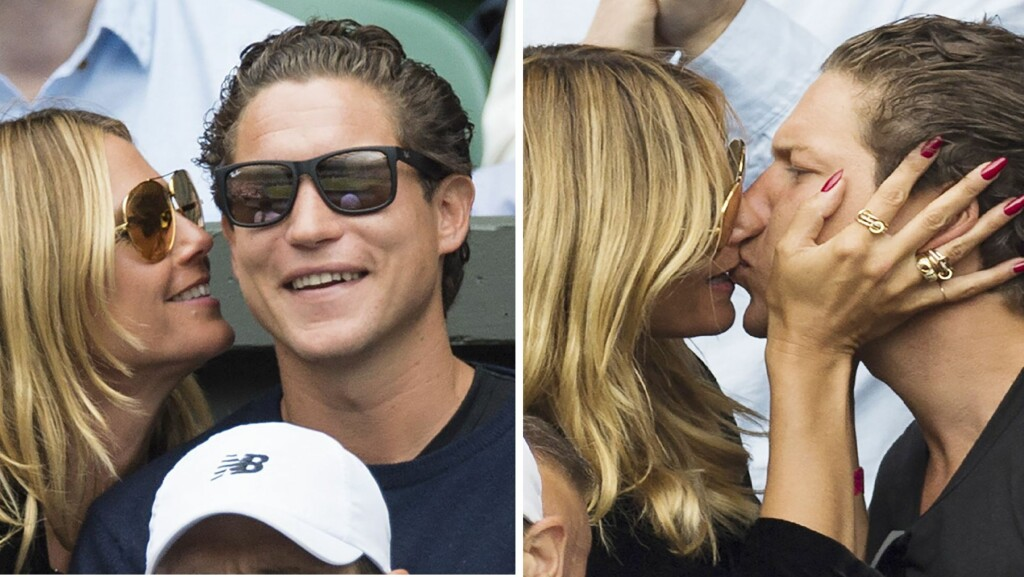 FÅR IKKE NOK: Heidi Klum er tydelig helt oppslukt av sin kjære Vito. På tribunen under Wimbledon hadde hun nesten bare øyne for ham. Foto: Rex Features