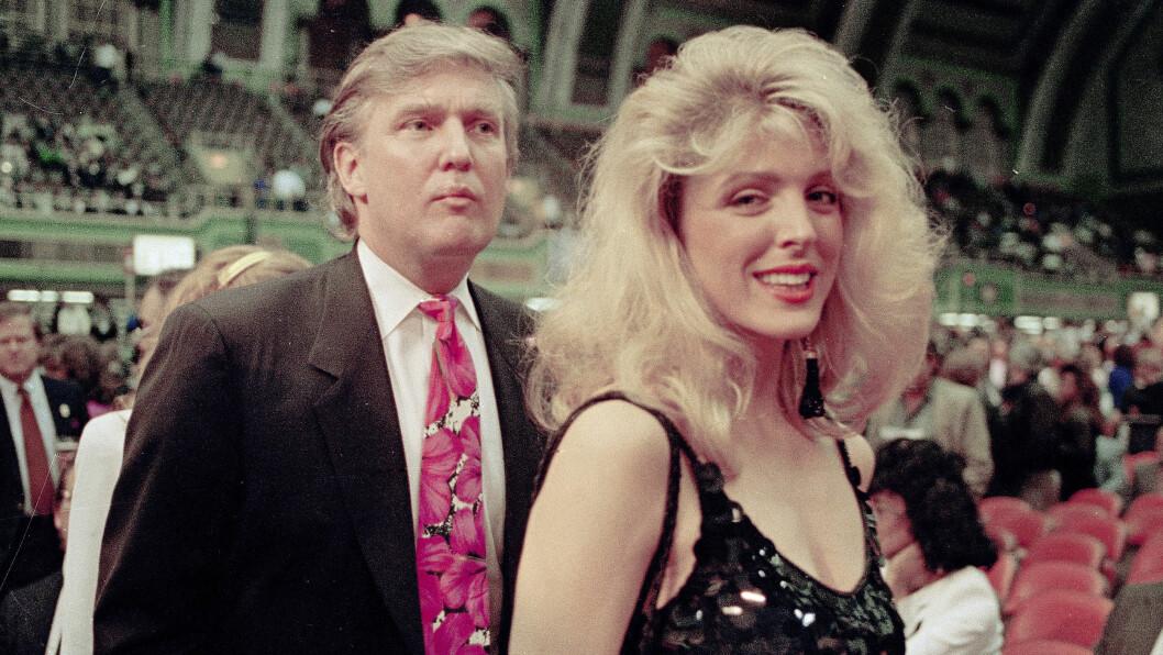 <strong>DONALD TRUMP:</strong> Marla Maples og Donald Trump var gift i perioden 1993 til 1999, og sammen fikk de en datter. Dette bildet er tatt i 1991. Foto: NTB Scanpix
