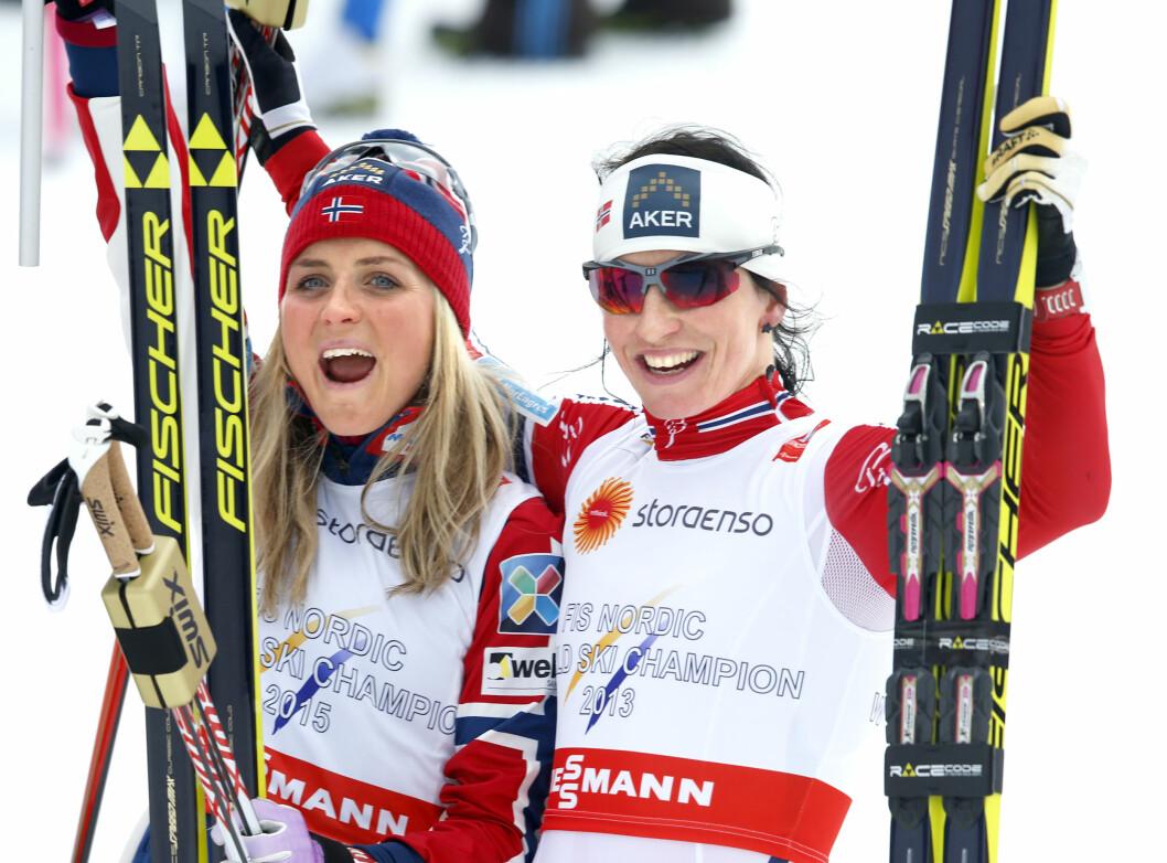 LÆRER AV HVERANDRE: Therese Johaug og Marit Bjørgen er ikke bare kolleger, men også gode venninner.  Foto: NTB scanpix