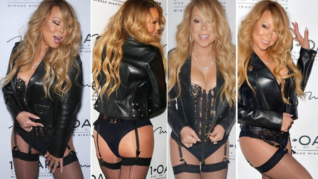 LETTKLEDD: Alles øyne var rettet mot Mariah Carey da hun ankom klubben 1 OAK i et sexy undertøys-inspirert antrekk i blonder og skyhøye hæler lørdag.  Foto: NTB Scanpix