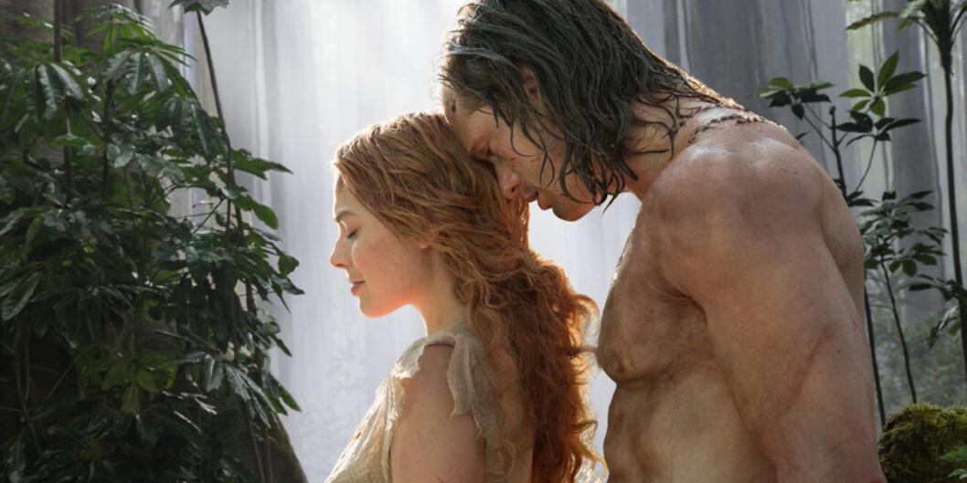 HETT PAR: Margot Robbie og Alexander Skarsgård spiller rollene som henholdsvis Jane og Tarzan i kinoaktuelle «The Legend of Tarzan». Foto: Jonathan Olley/ SF Norge/ Filmweb.no