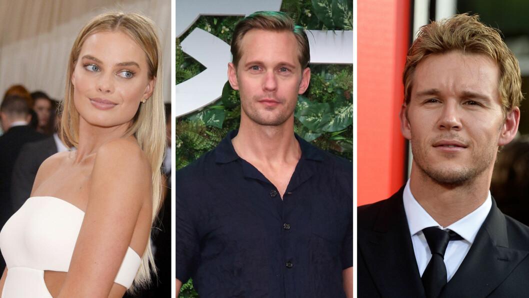 DANKET UT MARGOT: Skuespiller Alexander Skarsgård har kysset både Margot Robbie og Ryan Kwanten (t.h) på jobb, men «The Legend of Tarzan»-stjernen skryter mest av Kwantens evner som kysser. Foto: NTB Scanpix