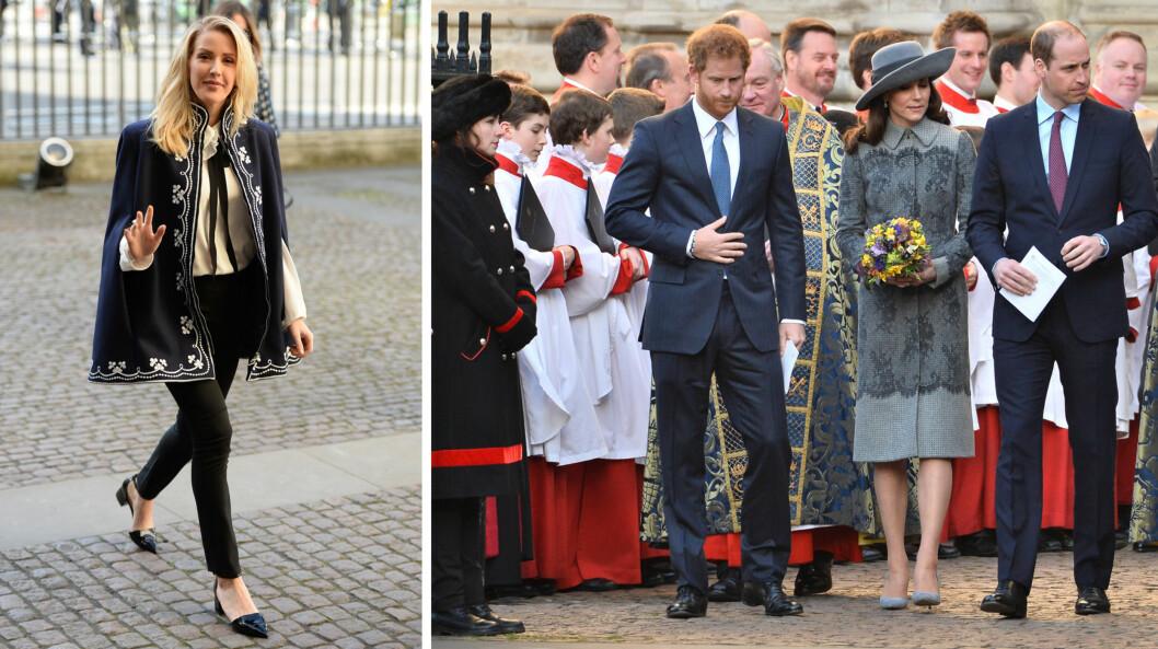 NÆRT FORHOLD: Både Ellie Goulding, prins Harry, hertuginne Kate og prins William var til stede under gudstjenesten Commonwealth Day Observance Service i Westminister Abbey i mars. Foto: NTB Scanpix