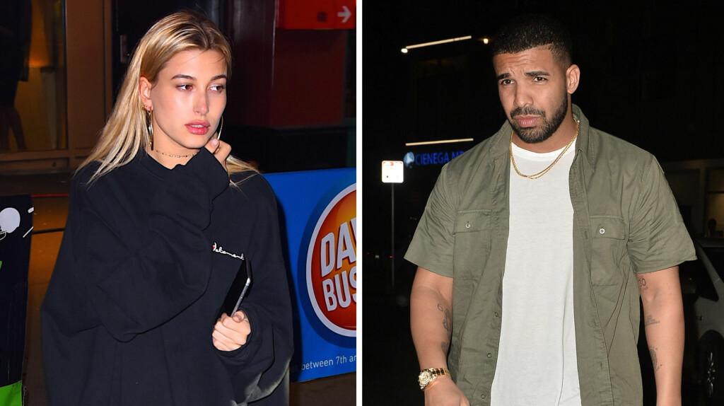 NYTT STJERNEPAR: Modell Hailey Baldwin og artisten Drake skal ha en flørt gående. Her forlater de restauranten The Nice Guy i Los Angeles, der de hadde hatt en romantisk date. Foto: NTB scanpix