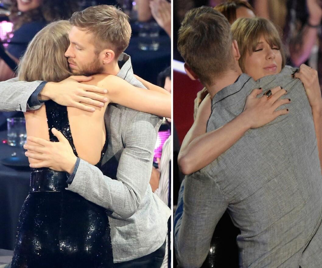 GOD KLEM: Her fikk Taylor Swift en god klem av Calvin Harris etter hun sto på scenen under iHeartRadio Music Awards i Los Angeles i starten av april.  Foto: Rex Features