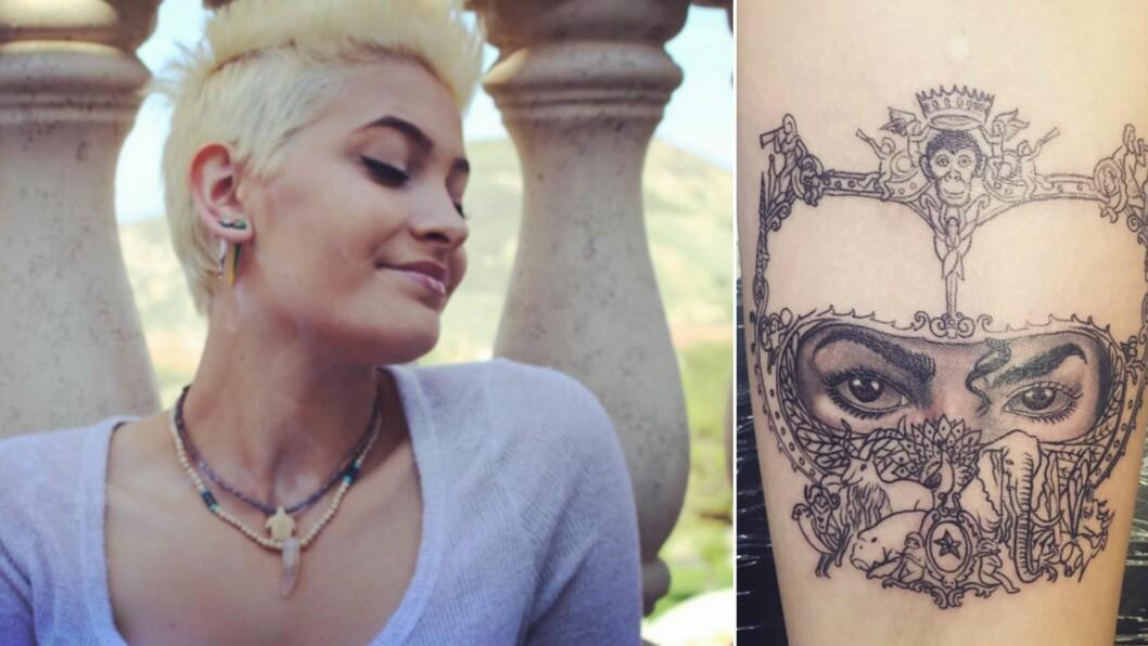 HYLLER FAREN: I går delte Paris Jackson dette bildet av sin nyeste tatovering på Instagram. Motivet er tatt fra Michael Jacksons album «Dangerous». Foto: Skjermdump fra Instagram
