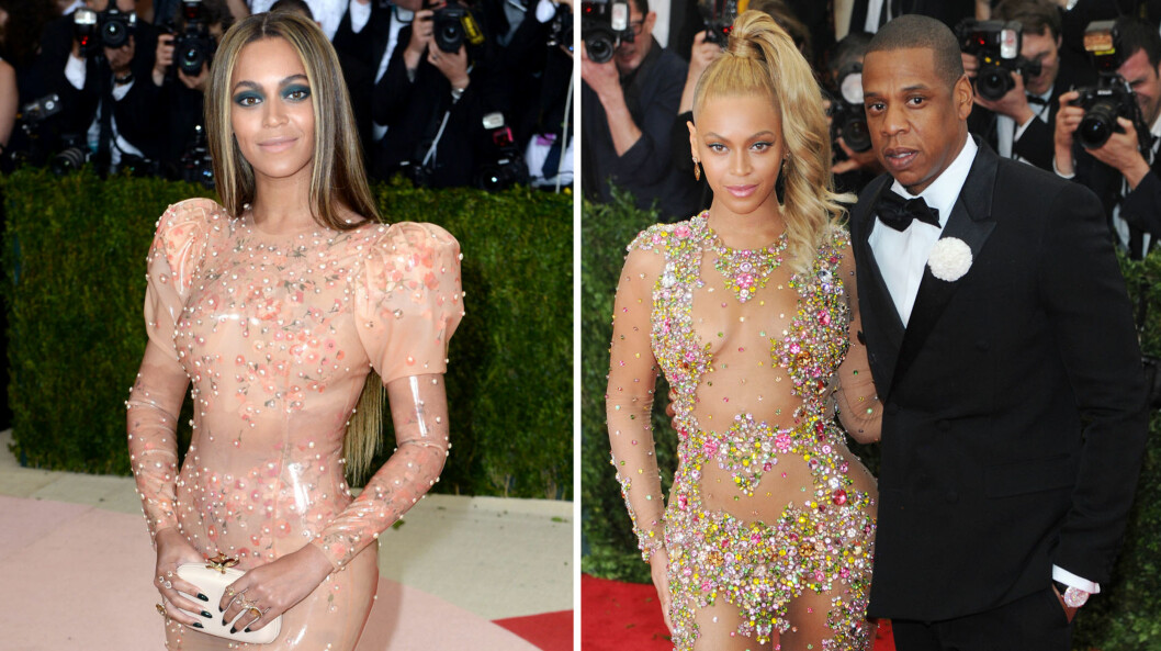 KOM ALENE: I år dukket Beyoncé opp alene på den storslåtte Met-gallaen, noe som sjokkerte fansen etter hun i fjor strålte ved siden av ektemannen Jay Z.  Foto: NTB scanpix