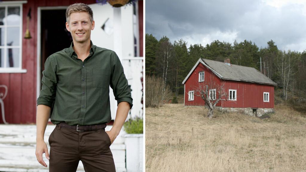 ÅRETS «FARMEN»-GÅRD AVSLØRT: Programleder Gauta Grøtta Grav er her fotografert på fjorårets «Farmen»-gård, Lønntjernbråten gård. På bildet til høyre ser man det som blir årets gård - småbruket Finnsvika ved svenskegrensa.  Foto: TV 2/ Privat