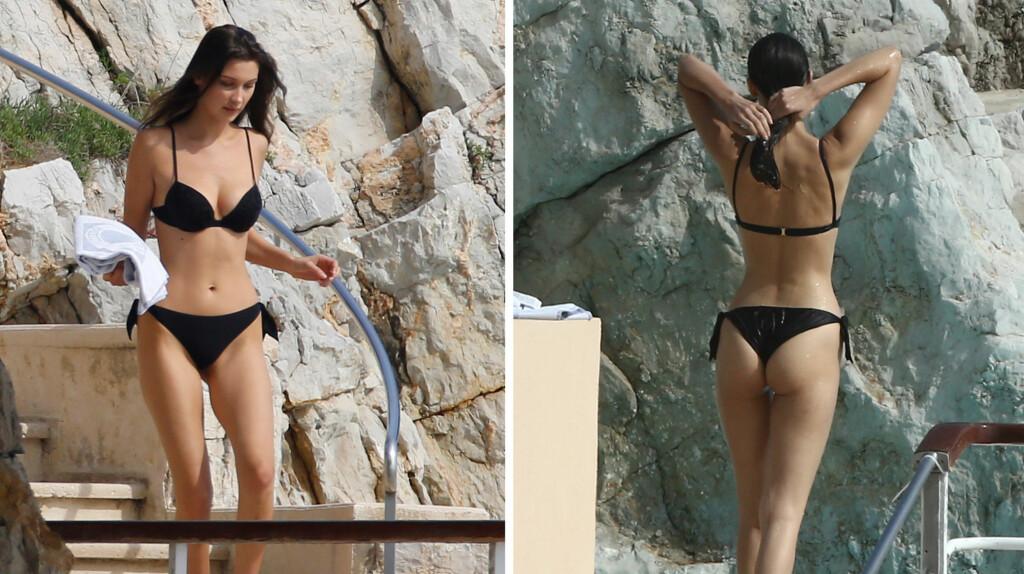 FLOTT: Bella Hadid viste frem sine smekre former under sexy photoshoot i den franske byen Antibes like ved Cannes.  Foto: NTB scanpix