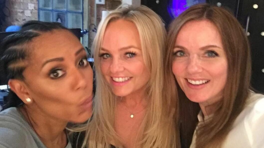 <strong>GJENFORENT:</strong> Mel B, Emma Bunton og Geri Halliwell møttes for å spille inn ny musikk sammen i London denne uken.   Foto: Skjermdump Instagram