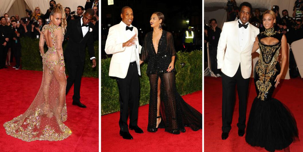 KOM SAMMEN: På Met-gallaen i både (f.v) 2015, 2014 og 2011 strålte Beyoncé og Jay Z side om side på den røde løperen.  Foto: NTB Scanpix
