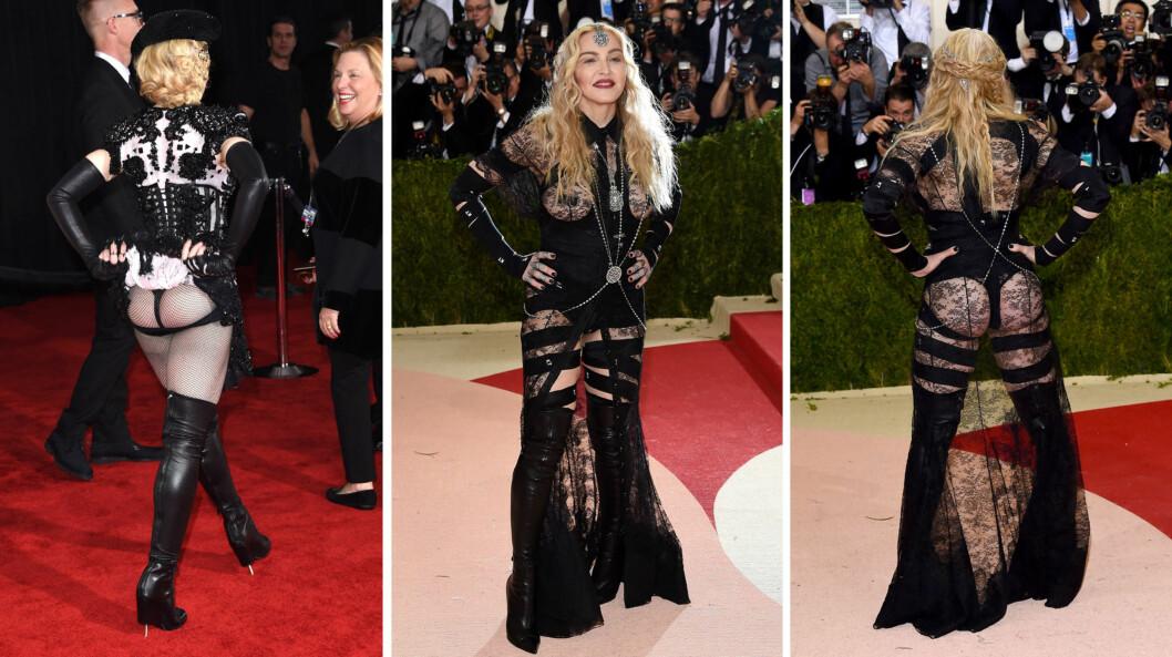 <strong>«CHEEKY» STUNT:</strong> På Grammy Awards 2015 skapte Madonna overskrifter da hun flashet bakenden sin for fotografene (t.v). På Met-gallaen mandag kveld gjentok hun stuntet i et antrekk som var enda mer avslørende.  Foto: NTB Scanpix