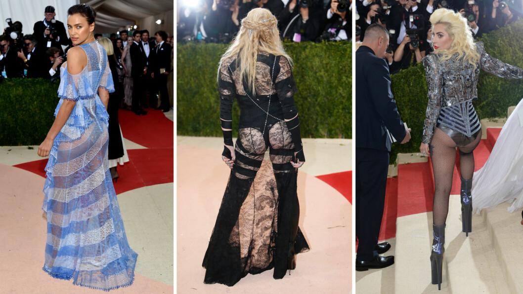 <strong>RUMPA (NESTEN) BAR:</strong> Både supermodell Irina Shayk, popikon Madonna og popstjerne Lady Gaga valgte å blotte bakenden på The Met Gala 2016 i New York. Alle de tre er blant stjernene som får klesslakt etter motegallaen. Foto: NTB Scanpix