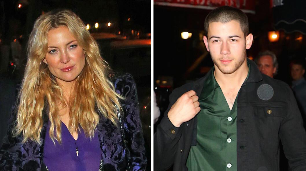 GJENFORENT: Kate Hudson og popstjernen Nick Jonas ble observert mens de forlot restauranten Carbone i New York søndag.  Foto: NTB scanpix