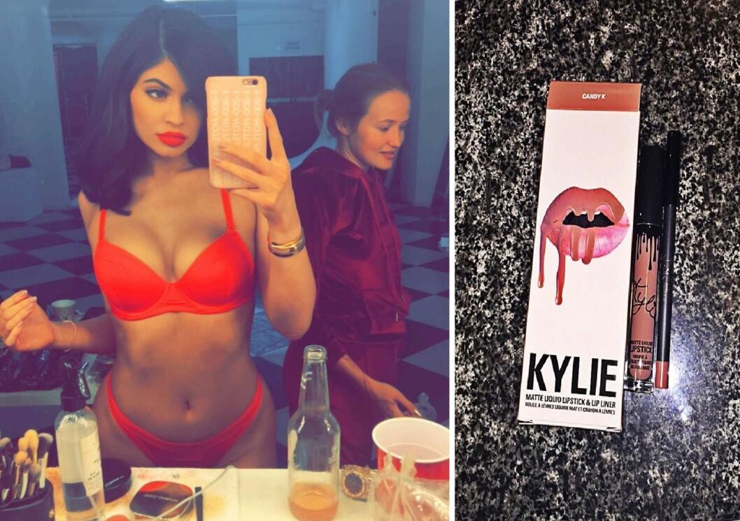 ELSKER Å POSERE: - Kunne dette blitt en ny lip kit-farge, skrev Kylie som tekst under bildet i det knallrøde undertøyet. Foto: NTB Scanpix