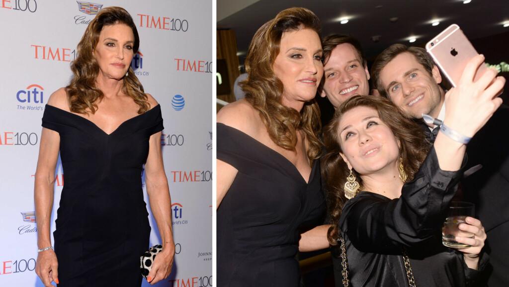 STRÅLTE: Caitlyn Jenner var blant stjernene som ble hedret på TIME 100-gallaen i New York tirsdag kveld. Realitystjernen og LHBT-aktivisten møtte flere ivrige fans på gallaen.  Foto: SipaUSA/ NTB Scanpix