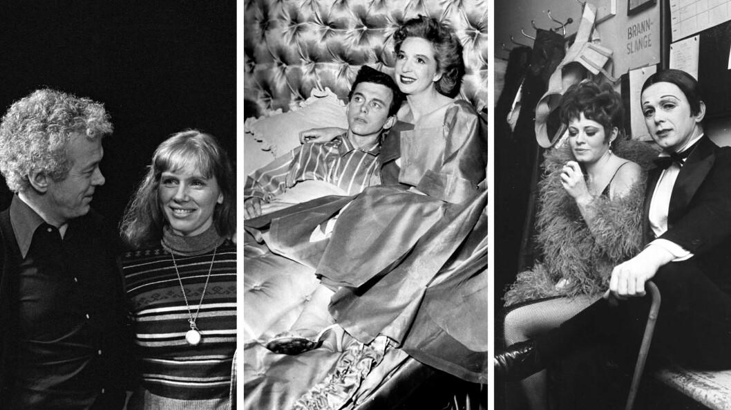 LEVENDE LEGENDE: Toralv Maurstad har trolig en av de aller lengste karrierene i norsk teaterliv. Her er han som (f.v) teatersjef for Oslo Nye Teater i 1976 sammen med «Måne for misfarne»-hovedrolleinnehaver Liv Ullmann, i «Min kvinne» med Wenche Foss på Nationaltheatret i 1956, og backstage med Kari Simonsen på «Cabaret» på Oslo Nye Teater i 1968. Foto: NTB Scanpix