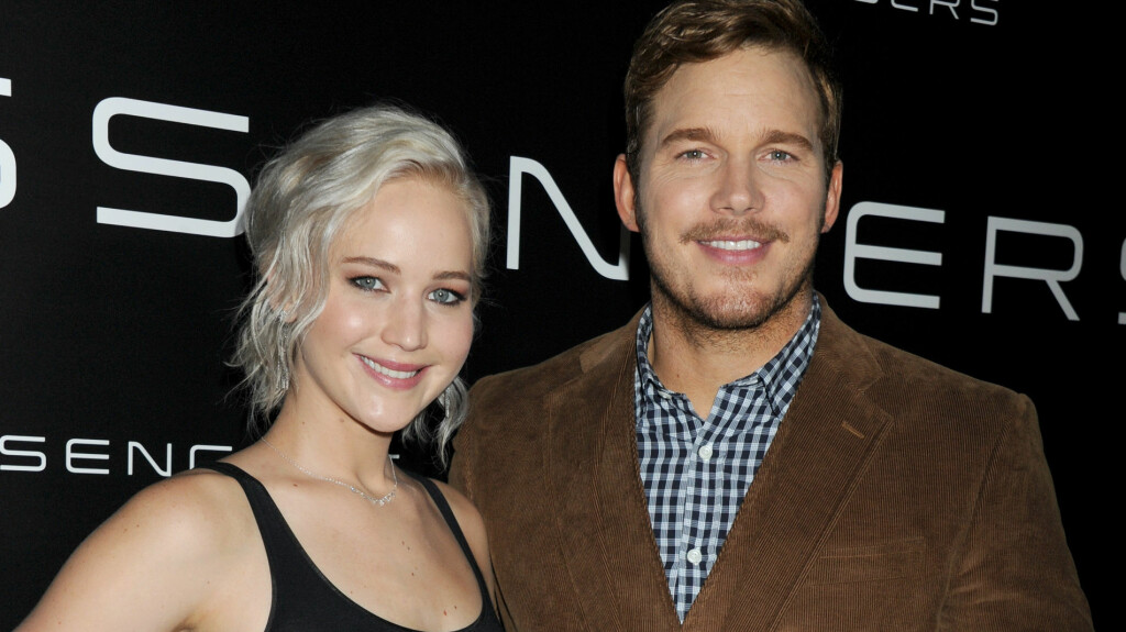 HOLLYWOOD: Jennifer Lawrence og Chris Pratt side om side på CinemaCon tidligere i år. Foto: Splash News