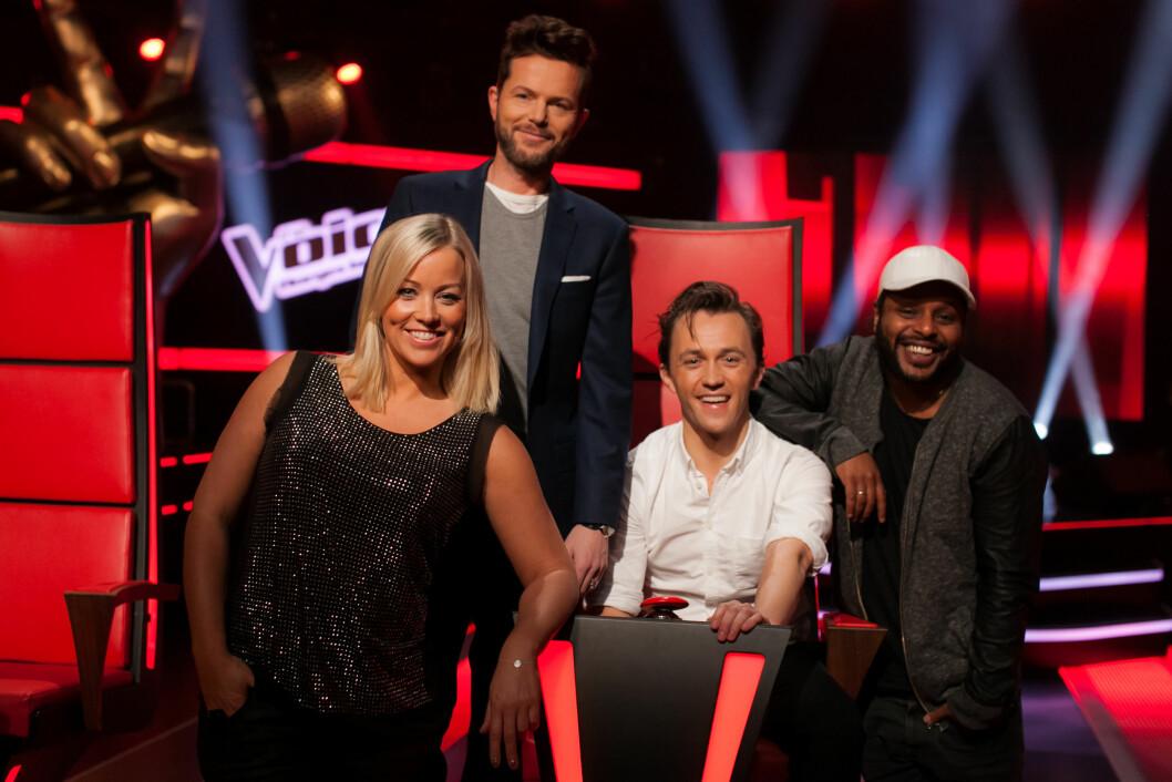 TV-PROFIL: Hanne Sørvaag sammen med de andre mentorene i 2015-sesongen av «The Voice», Espen Lind, Sondre Lerche og Yosef Wolde-Mariam. Foto: TV 2