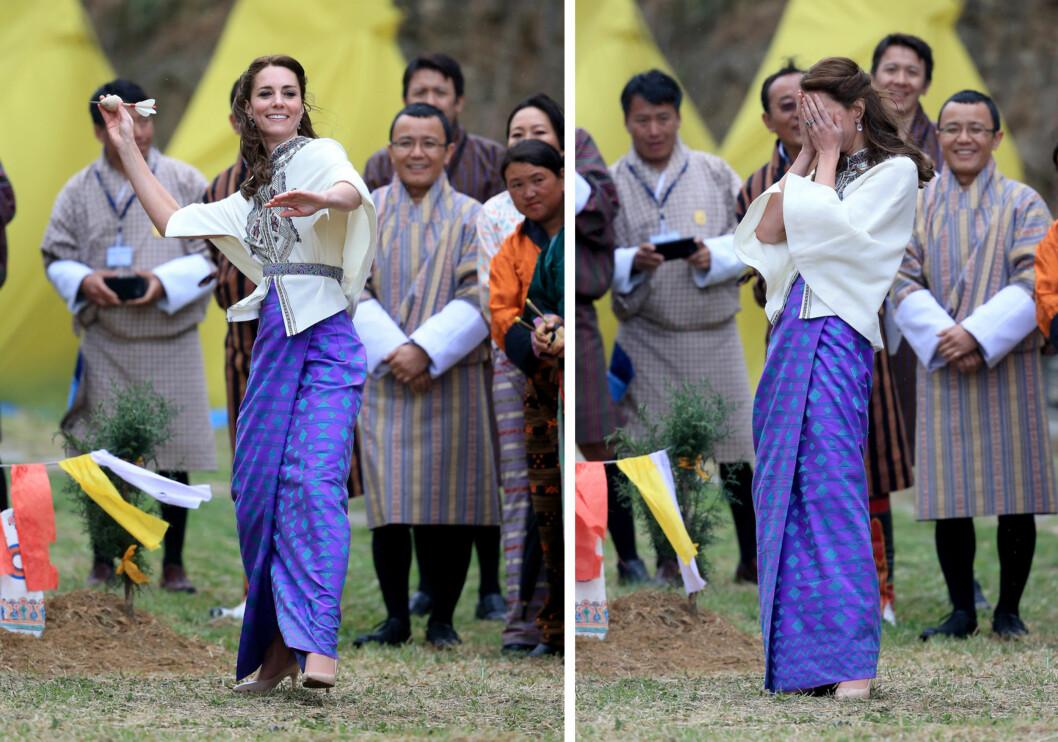 UFF DA: Hertuginne Kate så flott ut på bueskytingsbanen, men hun klarte ikke å få til noen fulltreffer med dartpilene heller. Foto: NTB Scanpix