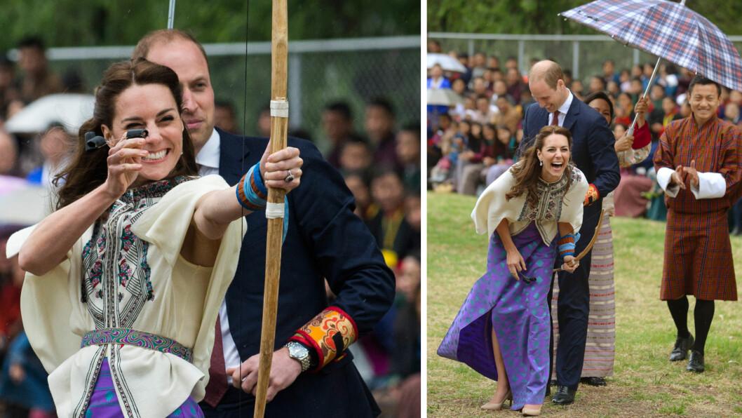 INGEN FULLTREFFER: Da hertuginne Kate prøvde seg som bueskytter i Bhutans hovedstad torsdag, klarte hun ikke helt å imponere. Kates strålende humør fikk i hvert fall både prins William og publikum til å trekke på smilebåndet! Foto: NTB Scanpix